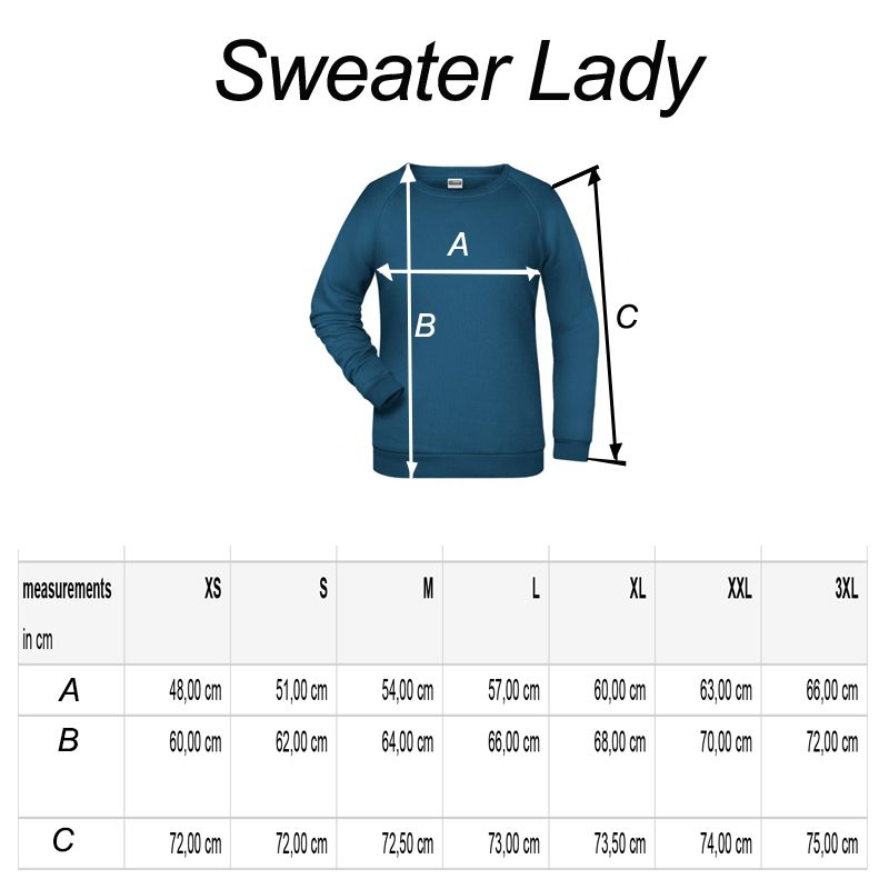Lady sweater R-line maattabel