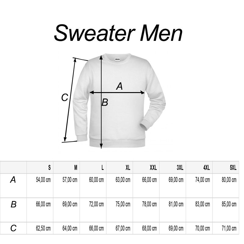 men sweater R-line maattabel